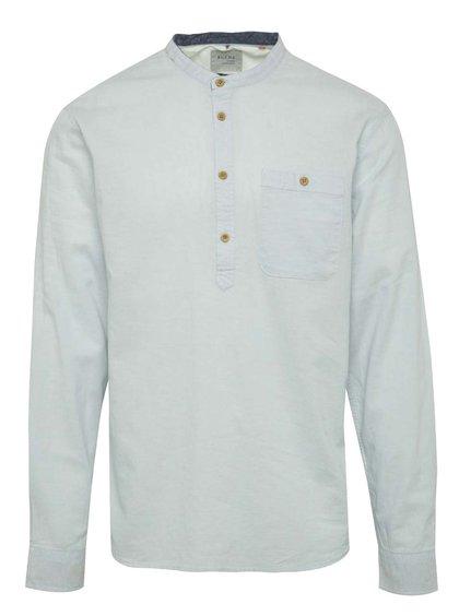 Světle modré lněné triko s prodlouženou zadní částí Blend