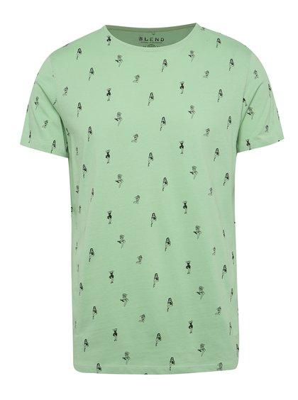 Zelené triko s černým potiskem Blend