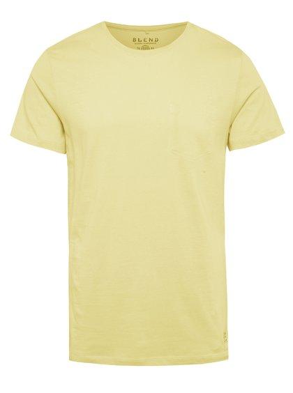 Žluté regular fit triko s imitací náprsní kapsy Blend