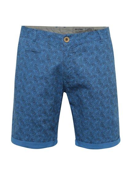 Modré lněné vzorované kraťasy Blend