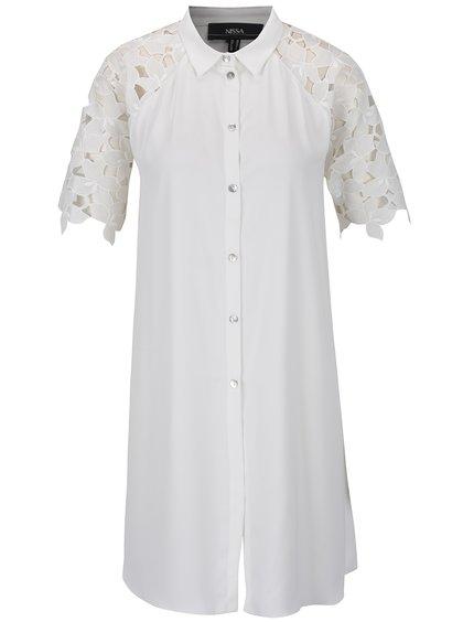 Bílá dlouhá košile s krajkovými rukávy NISSA