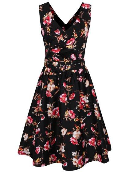 Černé květované šaty s páskem Dolly & Dotty May