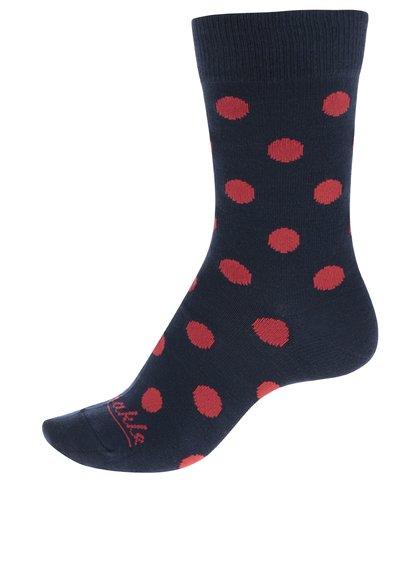 Červeno-modré dámské puntíkované ponožky Fusakle Krvavý mesiac