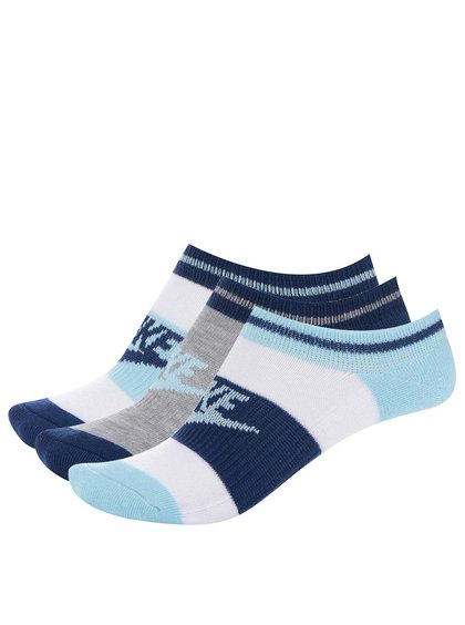 Sada tří párů kotníkových ponožek v modré a bílé barvě Nike No Show
