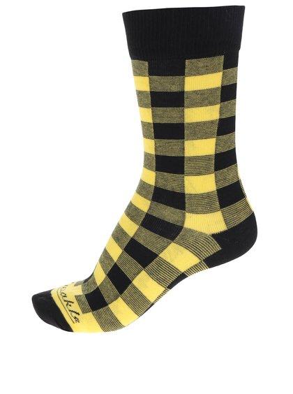 Žluto-černé dámské kostkované ponožky Fusakle Žlťas