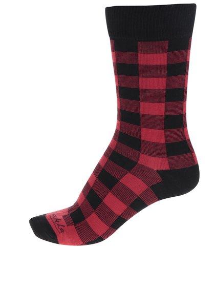 Červeno-černé pánské kostkované ponožky Fusakle Pankáč
