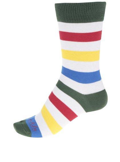 Bílo-zelené pánské pruhované ponožky Fusakle Zebrič
