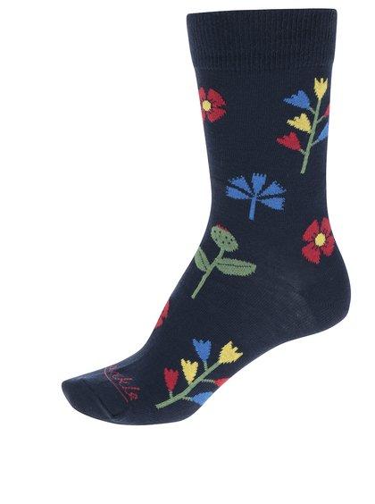 Tmavě modré dámské ponožky s motivem květin Fusakle Kvetinár