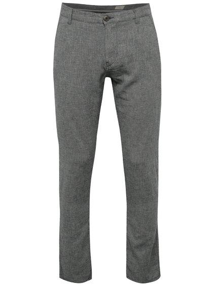 Tmavě modré žíhané lněné chino kalhoty Selected Homme Paris