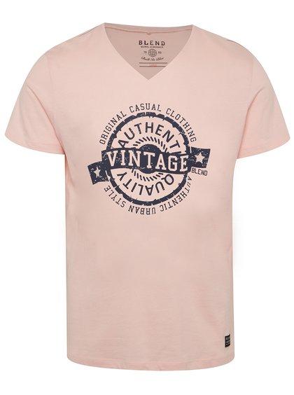 Růžové triko s potiskem Blend