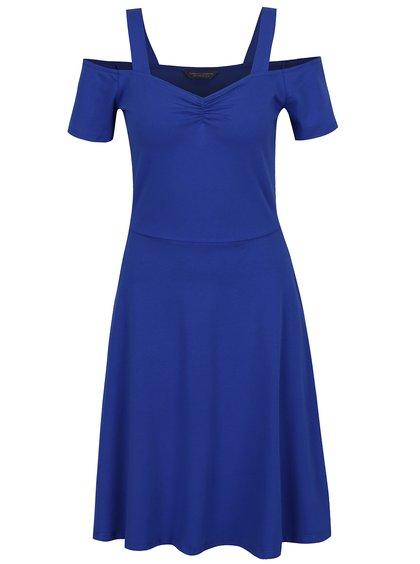 Modré šaty s odhalenými rameny a rozšířenou sukní Dorothy Perkins Tall