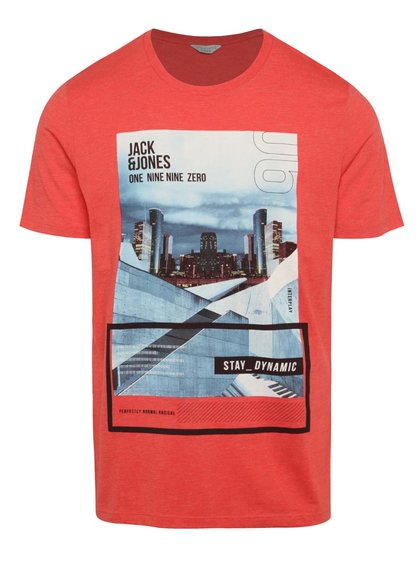 Tricou roșu Jack & Jones Crown cu print