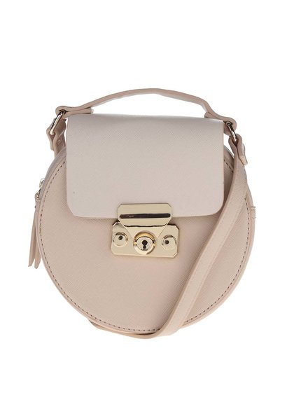 Krémovo-růžová kulatá malá kabelka s klopou Miss Selfridge