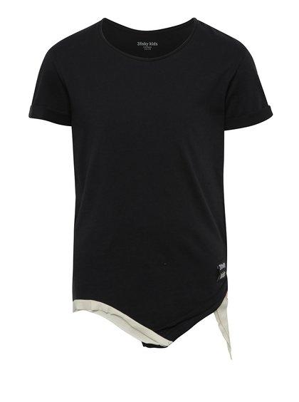 Černé dětské asymetrické tričko s nášivkou na zádech 3fnky kids Love
