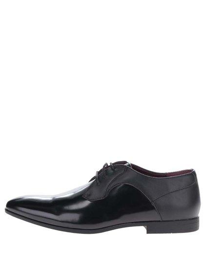 Pantofi negri Burton Menswear London cu aspect lăcuit în partea din față