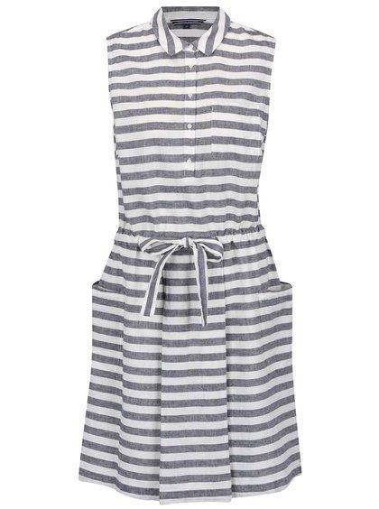 Modro-krémové lněné pruhované šaty bez rukávů Tommy Hilfiger