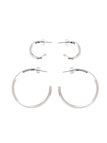 Sada dvou párů kruhových náušnic ve stříbrné barvě Pieces Eila