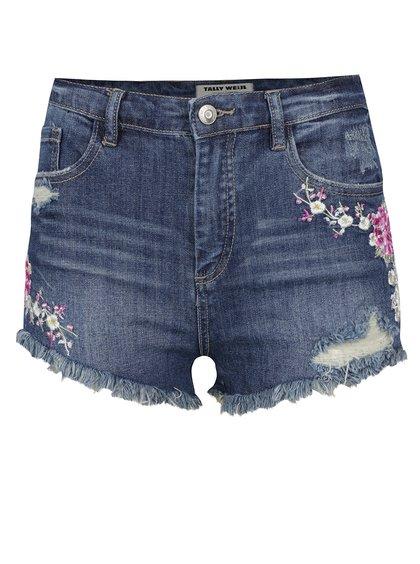 Modré džínové kraťasy s vysokým pasem a výšivkami ve tvaru květin TALLY WEiJL