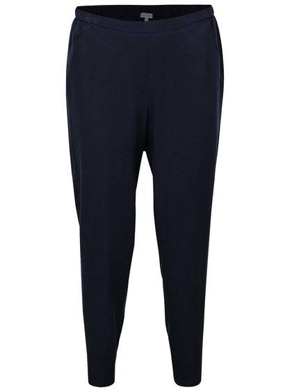 Tmavě modré zkrácené kalhoty s vysokým pasem Gina Laura