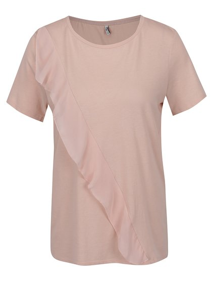 Tricou roz pal ONLY Tascha cu volan decorativ