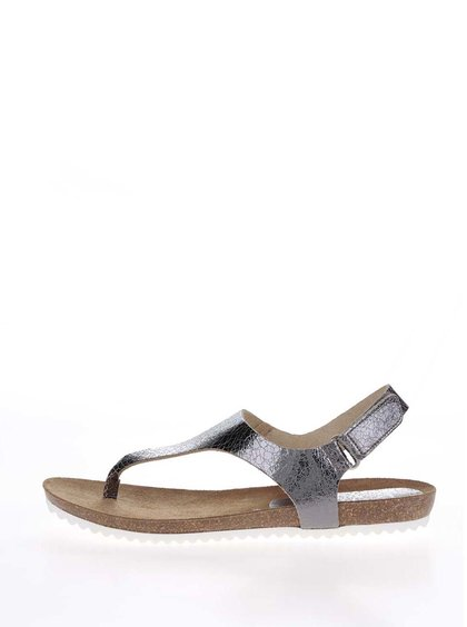 Sandalle flip flop argintii din piele OJJU