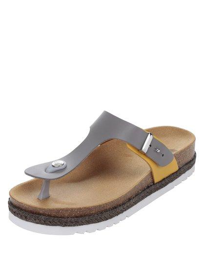 Papuci flip-flop gri & galben Scholl Idylla din piele