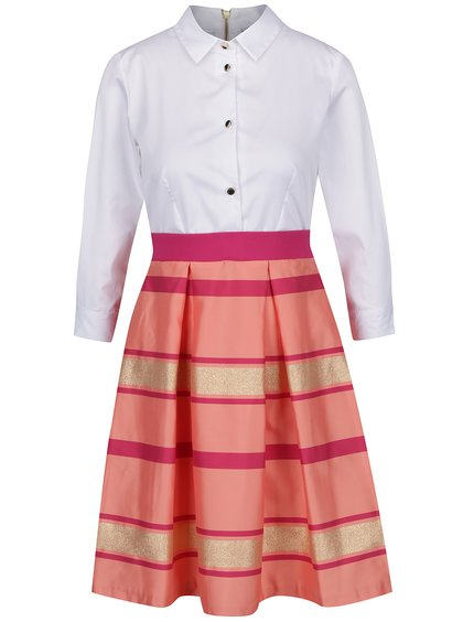 Růžovo-bílé šaty s pruhovanou sukní a košilovým topem Closet