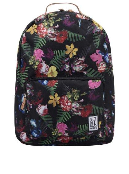 Rucsac negru The Pack Society 18 l cu imprimeu floral