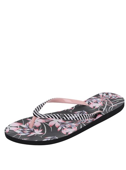 Papuci flip-flop negri Roxy Portofino cu model floral și în dungi