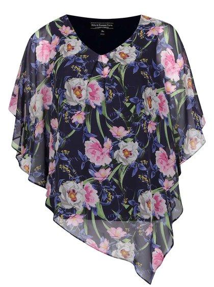 Top albastru  Billie & Blossom Curve cu imprimeu floral