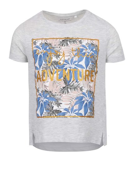Tricou gri melanj cu print frontal pentru fete name it Janine