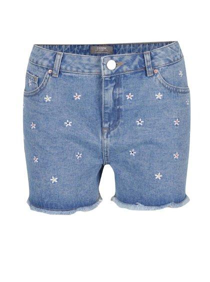 Pantaloni scurți albaștri din denim cu flori brodate Dorothy Perkins