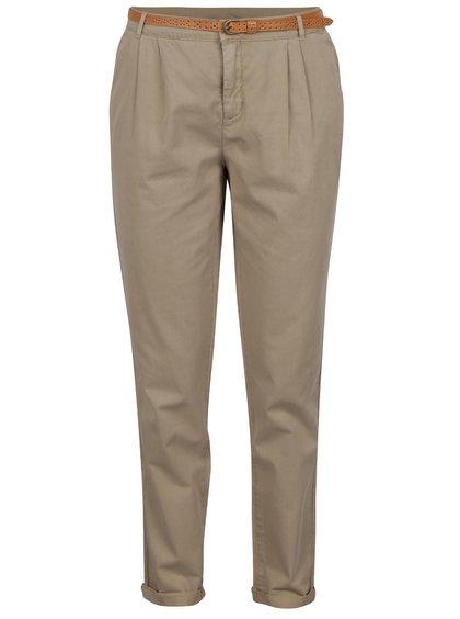 Béžové chino kalhoty s páskem VERO MODA Donny