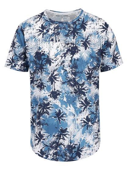 Modré vzorované triko ONLY & SONS Matty