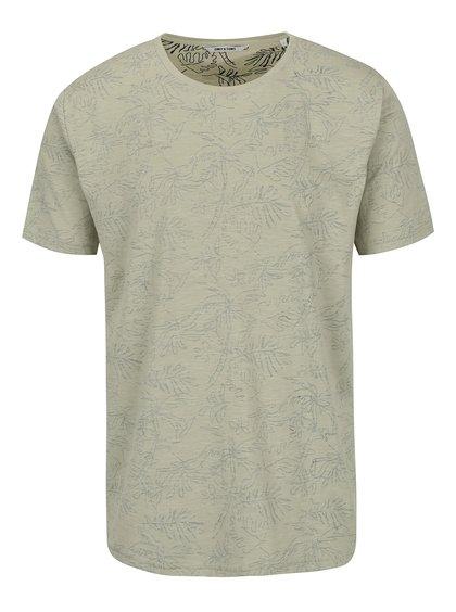 Khaki vzorované triko ONLY & SONS Silas