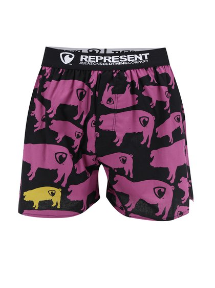 Boxeri negri&roz cu imprimeu Represent Exclusive Mike Pig Farm
