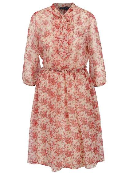 Béžovo-červené květované šaty s vázankou Pretty Girl