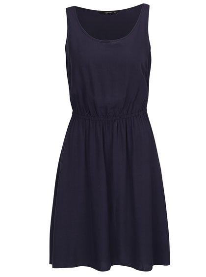Tmavě modré šaty s gumou v pase ONLY Nova