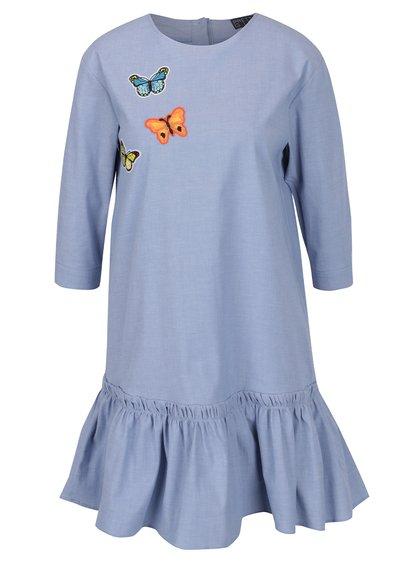 Modré džínové šaty s nášivkami motýlů Pretty Girl