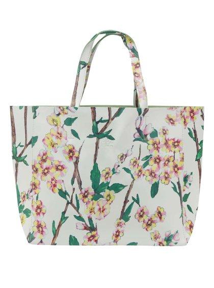 Geantă crem shopper Fez by Fez Fiorata cu model floral și compartiment detașabil