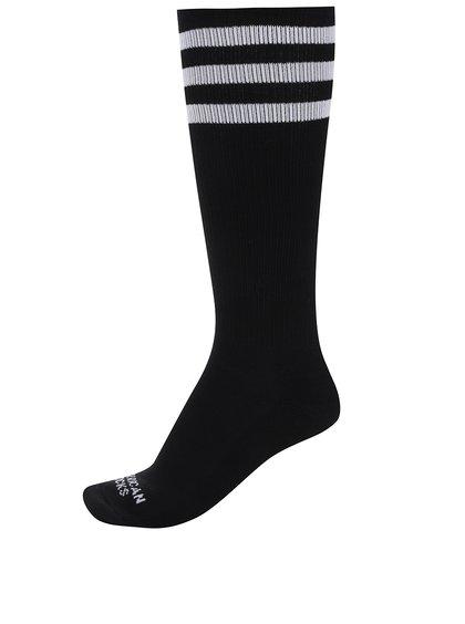 Černé pánské ponožky s bílými pruhy American Socks
