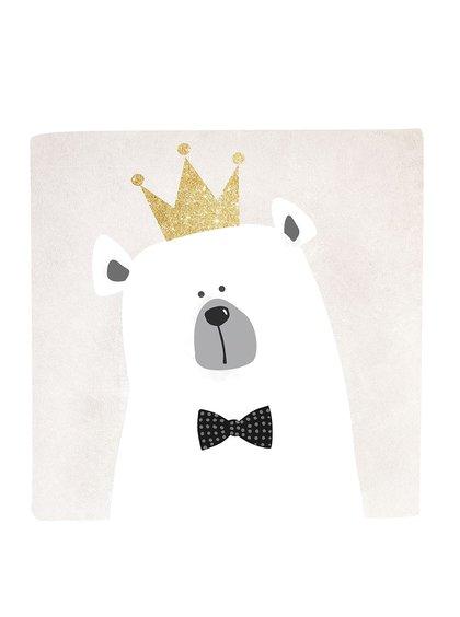 Krémovo-bílý obrázek s motivem medvěda Butter Kings