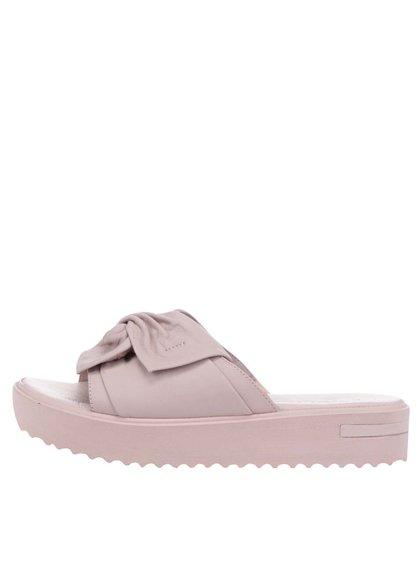 Růžové kožené pantofle s mašlí Tamaris