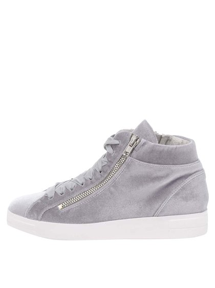 Pantofi sport gri Tamaris cu aspect de catifea