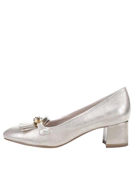Pantofi aurii Tamaris din piele