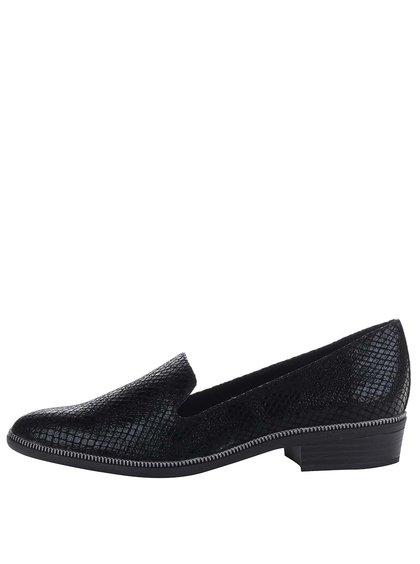 Pantofi leofer negri Tamaris cu fermoar decorativ
