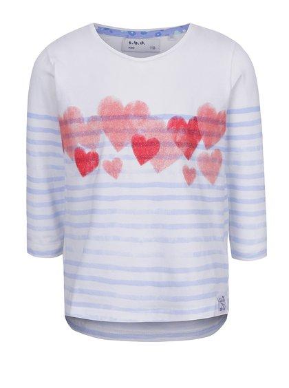 Modro-bílé pruhované holčičí tričko s aplikací 5.10.15.
