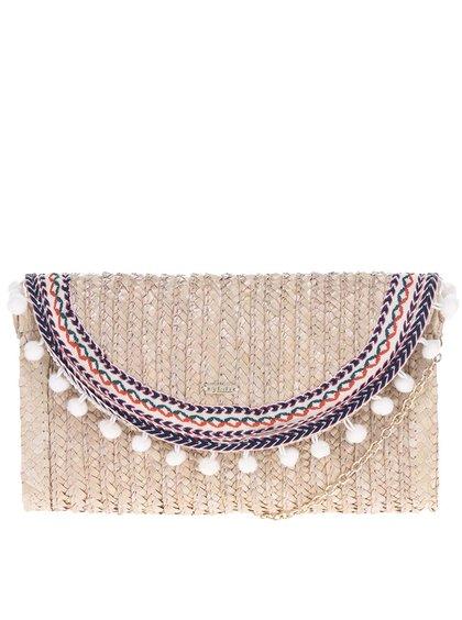 Béžové slaměné psaníčko/crossbody kabelka s bambulemi Nalí