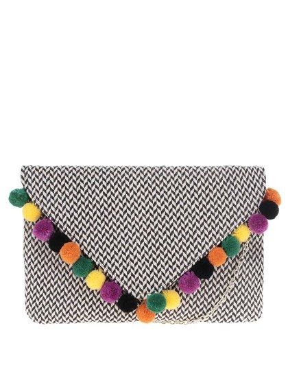 Geantă plic negru&crem Nalí cu pompoane decorative