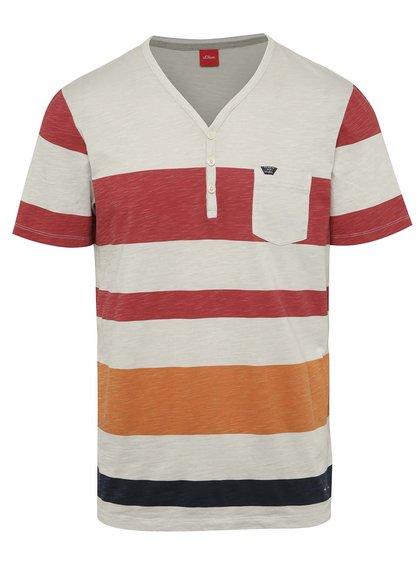 Oranžové-krémové pruhované pánské triko s.Oliver